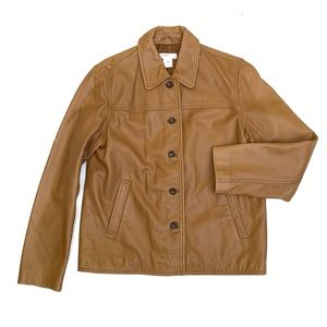 J. CREW Tan Bomber Leather Jacket Size S